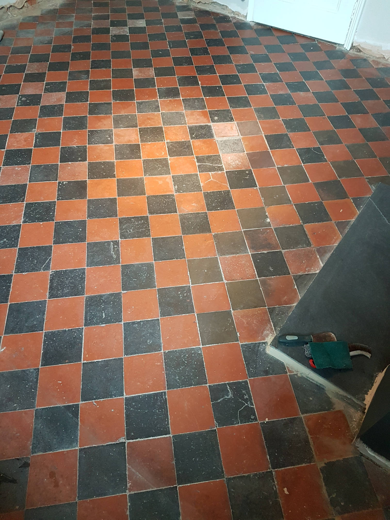Removing Paint Spots From Black And Red Quarry Tiles In