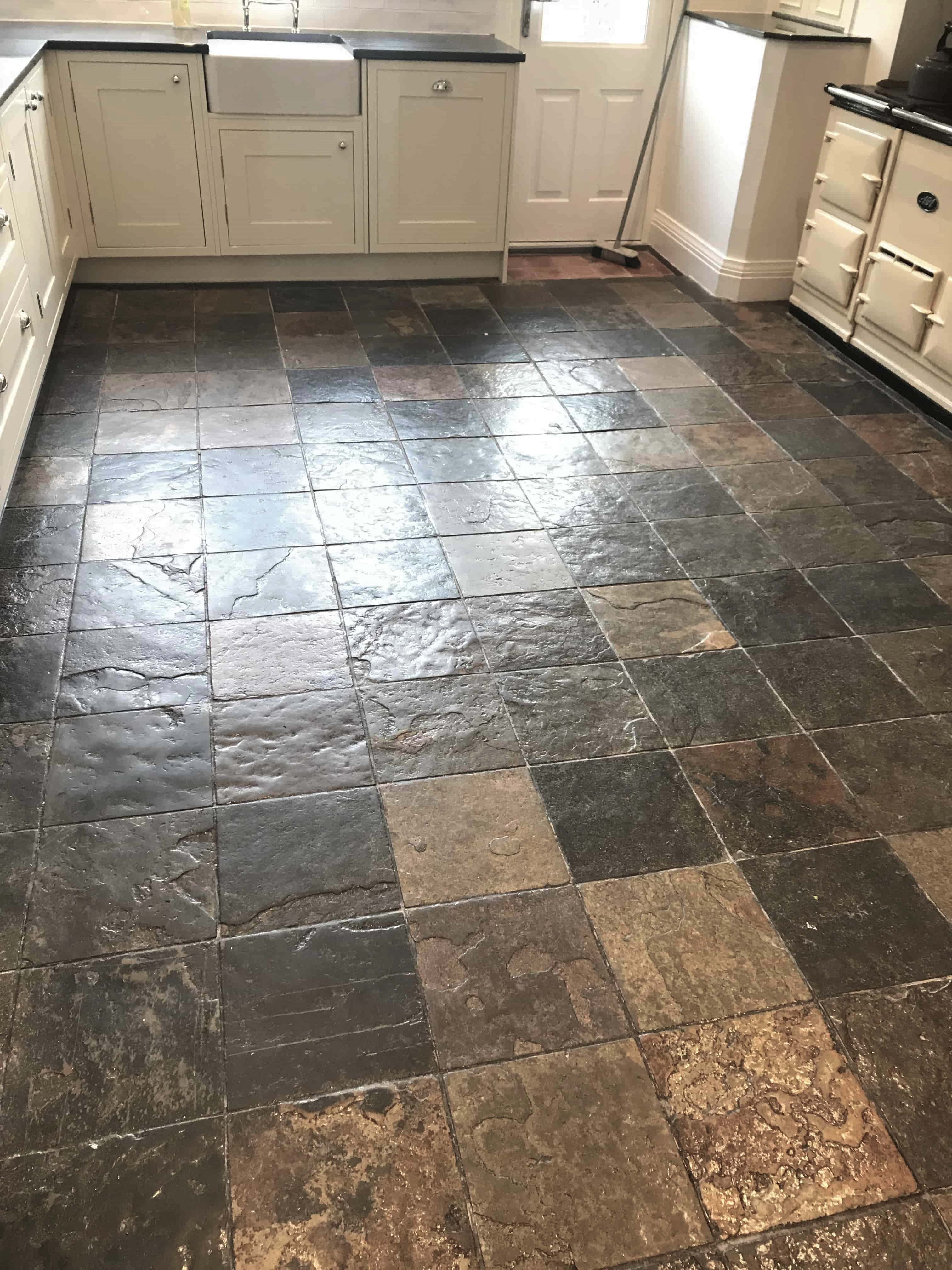 Renovating A Beautiful Slate Tiled Kitchen Floor In Sutton
