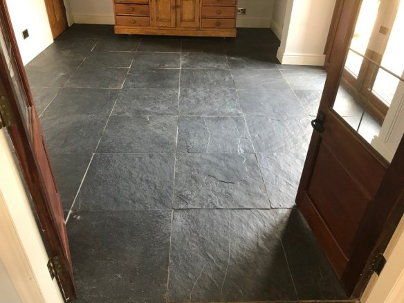 Renovating Dull Semi Riven Black Slate Flooring In Bentham