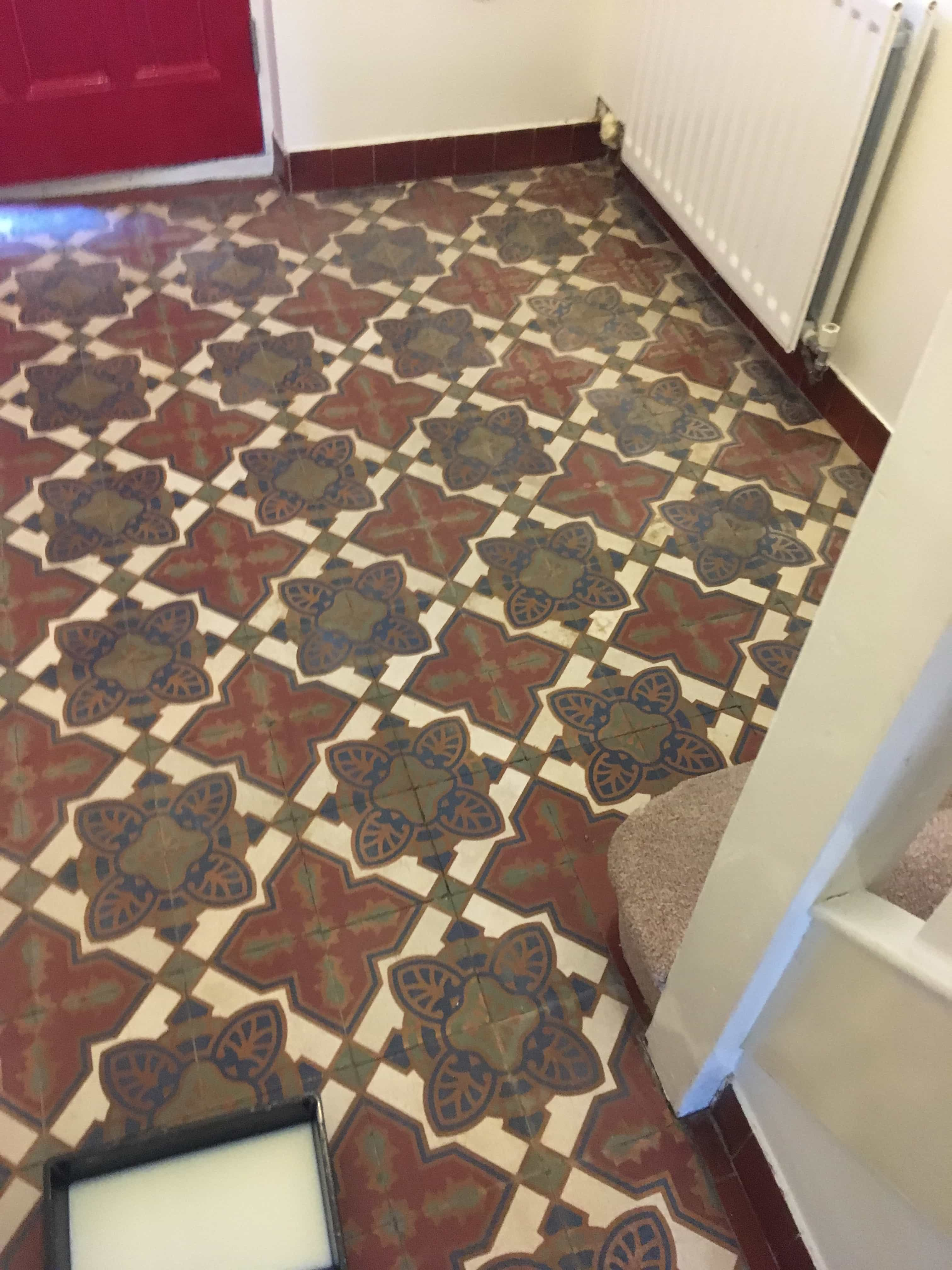 Neglected Victorian Encaustic Cement Hallway Renovated In